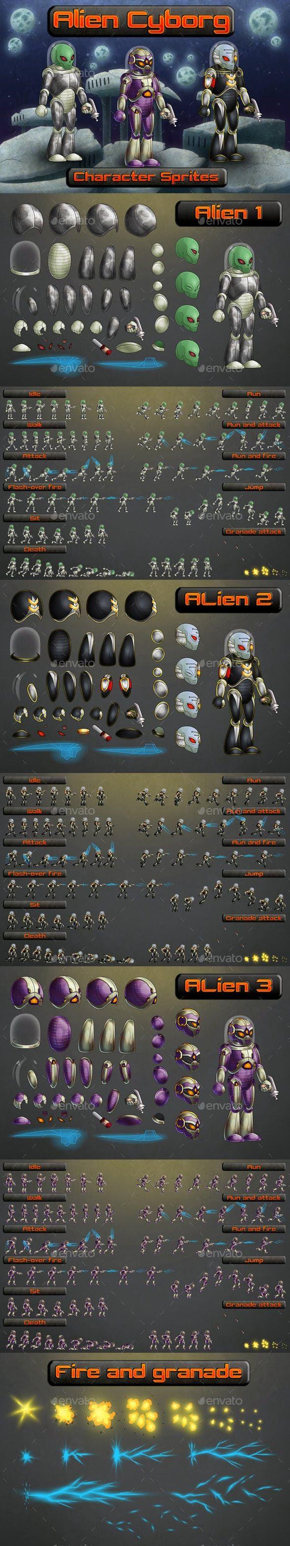 Alien 2D Sprites — Vector EPS characters html5