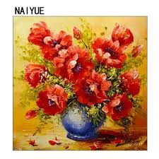 Image result for painting  flowers in a red vase