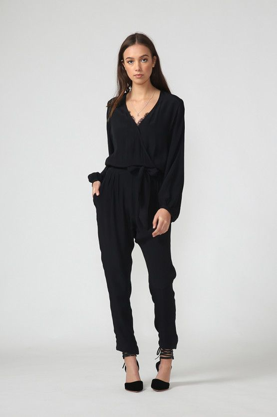 fleet wrap jumpsuit / black