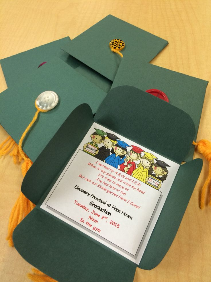 Preschool graduation invites, DIY: construction paper, yarn, and buttons