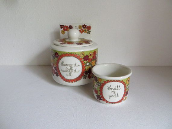 Vintage Figgjo Flint Turi design Folklore zoutpot met door kunstmus