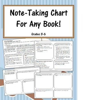 This FREE Note-Taking Chart is a simple graphic organizer to help students in grades 3-6 take notes when reading or after reading a chapter of fiction!...
