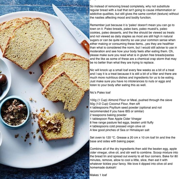 PALEO bread, recipe is by Pete Evans wife Nic. Pete is a huge advocate of the Paleo lifestyle, calling it the Paleo Way. P4P (Pete 4 Paleo)
