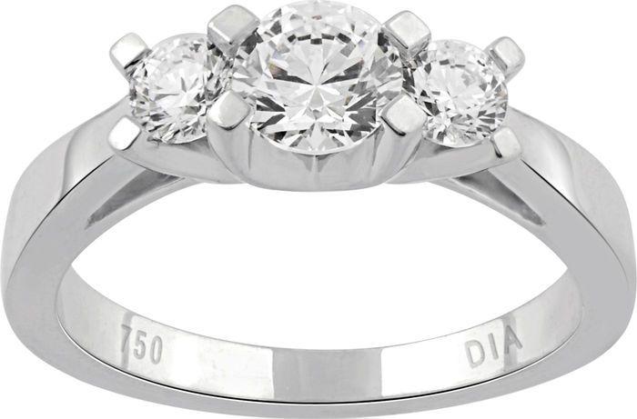 Catawiki Online-Auktionshaus: 3 Diamanten im Rund/Brillantschliff Verlobungsring 1 ct. total Diamant Gewicht