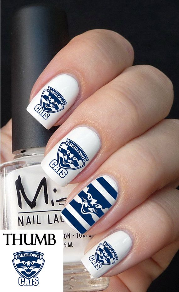 Geelong Football Club nail decal by DesignerNails on Etsy, $3.95
