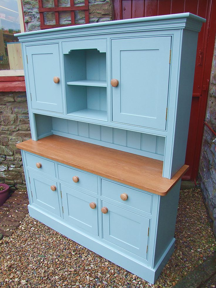 Painted Welsh Dresser with solid doors and oak top