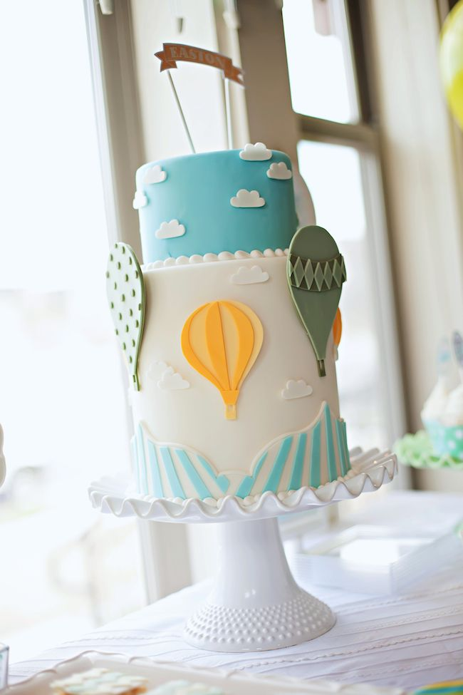 hot air balloon party cake idea - i think i can make this. i would use fondant for all those pieces.