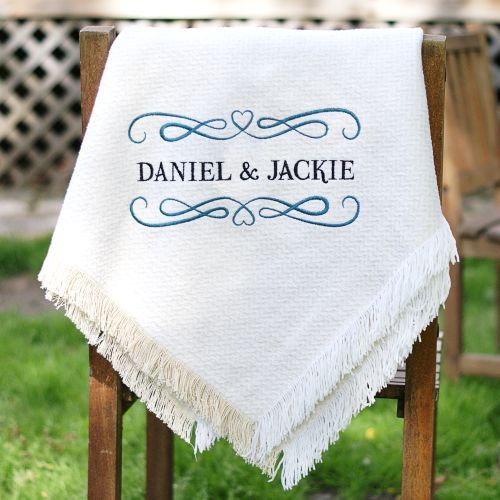 Embroidered Couples Afghan | Couples Throw Blanket