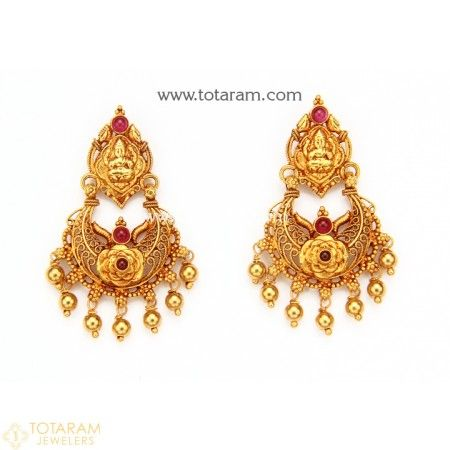 Chandbali Earrings - Temple Jewellery - 22K Gold 'Lakshmi' Drop Earrings - 235-GER7331 - Buy this Latest Indian Gold Jewelry Design in 8.100 Grams for a low price of  $525.30