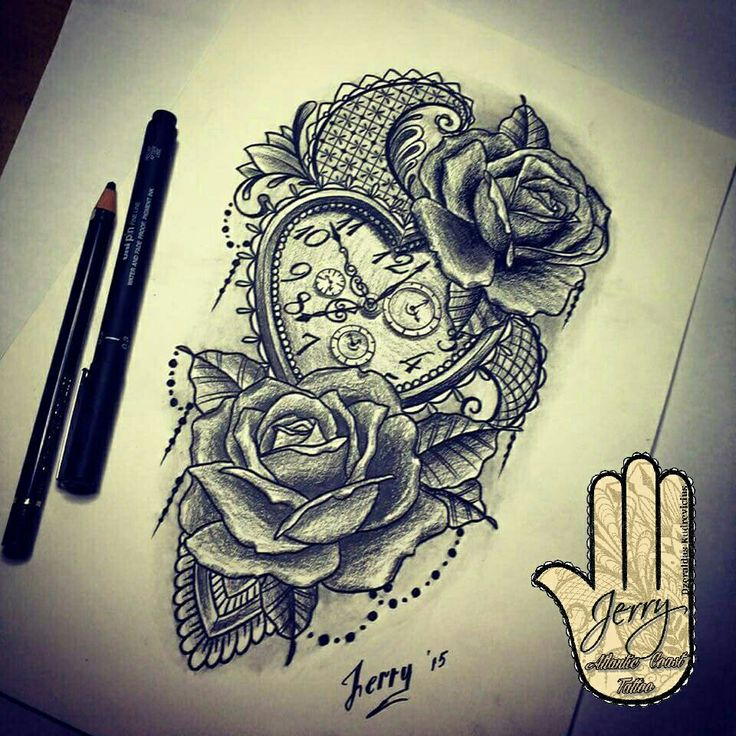 heart shape pocket watch and rose tattoo design idea with lace and mendi mandala patterns