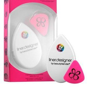 Liner.designer by Beautyblender: Perfect the cat-eye every time with this eyeliner stencil. Depending on the look you're going for, choose which side you want to use (straight, round, or curved) and place it at an angle at the outer corner of your eye, pointing downwards. The silicone stencil will lightly adhere to your skin to keep your hands free for application. You can also hold it behind your eyelashes when applying mascara to protect your lids from black smudges.