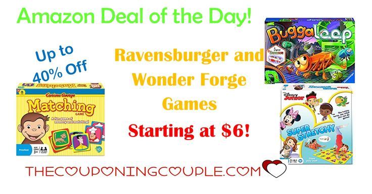 Amazon Deal of the Day! Get Ravensburger and Wonder Forge Games as low as $6! Many different games to choose from for up to 40% off!  Click the link below to get all of the details ► http://www.thecouponingcouple.com/ravensburger-and-wonder-forge-games/ #Coupons #Couponing #CouponCommunity  Visit us at http://www.thecouponingcouple.com for more great posts!