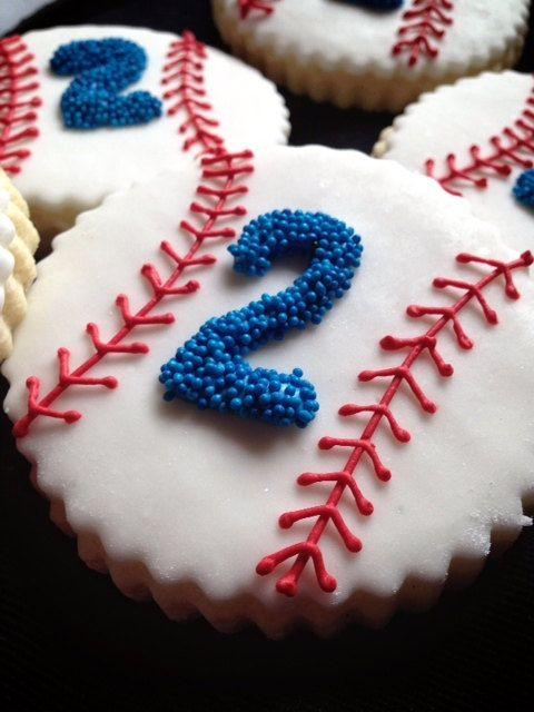 ONE DOZEN Traditional Baseball / Softball Sugar Cookies