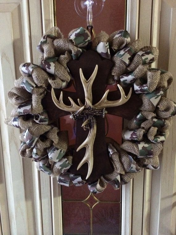 16 inch burlap and camo bubble wreath with by Forthedoorandmore, $65.00
