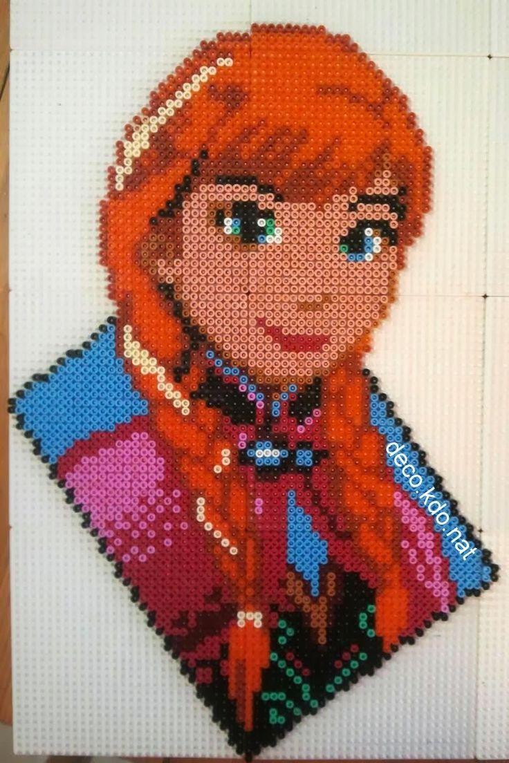 DECO.KDO.NAT: Perles hama: portrait anna de la reine des neiges ...