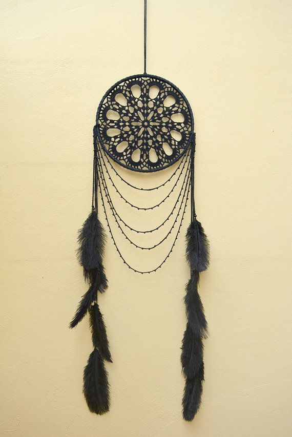 Large black dream catcher, Free spirit, Black Crochet Boho Dreamcatcher, Black…