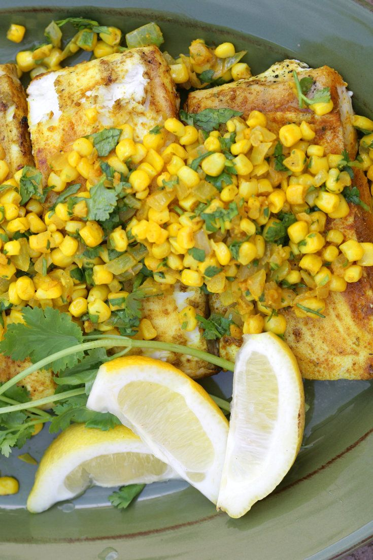 Le flétan grillé avec des épices indiennes et la recette de confiture de maïs - NYT Cooking