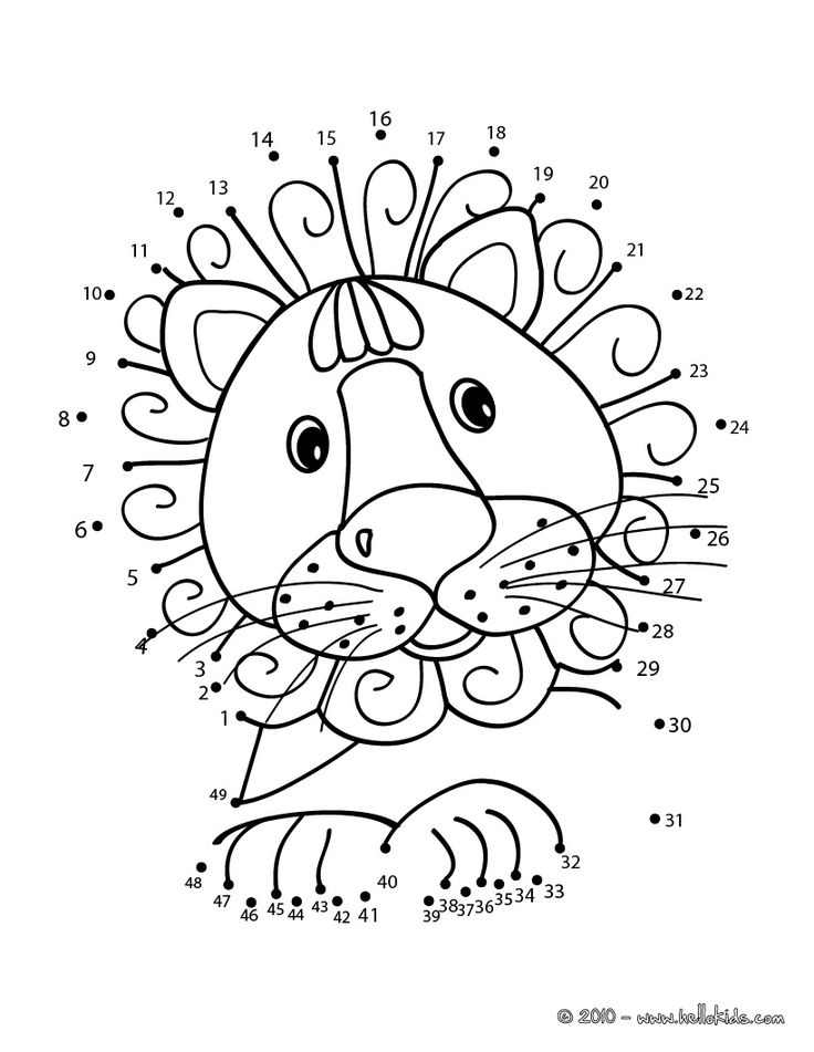 LION dot to dot game printable connect the dots game