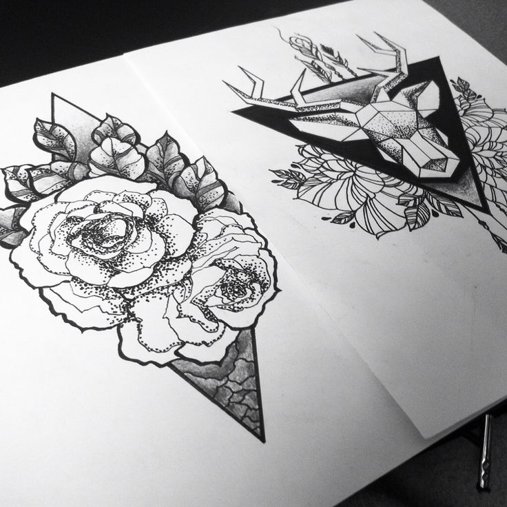 tattoo idea, roses, deer, arrows, triangle
