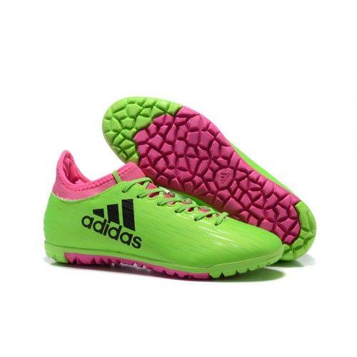 adidas x 16.3 tf fotbollsskor för män grön rosa
