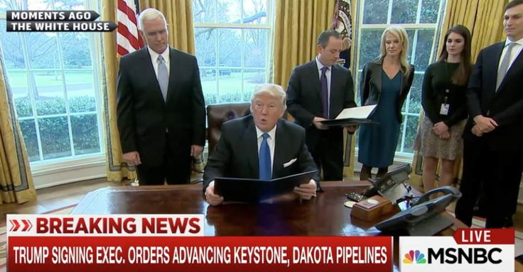 Trump Just Green-Lighted Controversial Pipeline Whose CEO Donated Millions to GOP Super PACs Trump Misleadingly Claims Keystone Pipeline Will Produce 28,000 Jobs....just say he LIED, not Misleadingly....he's a bigly LIAR!