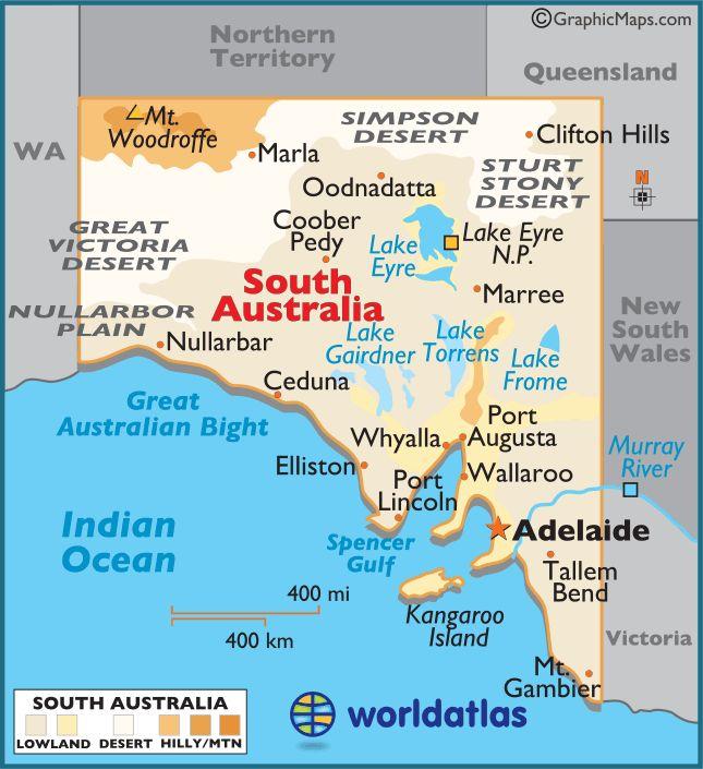 South Australia Map • Adelaide's icons