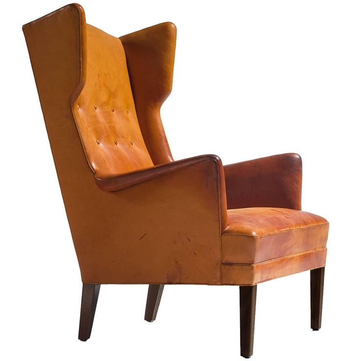 Best Cognac Wingback Easy Chair Attributed To Frits Henningsen 400 x 300