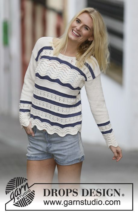 "Knitted DROPS jumper with lace pattern and stripes in ""Cotton Light"". Size: S - XXXL. ~ DROPS Design"