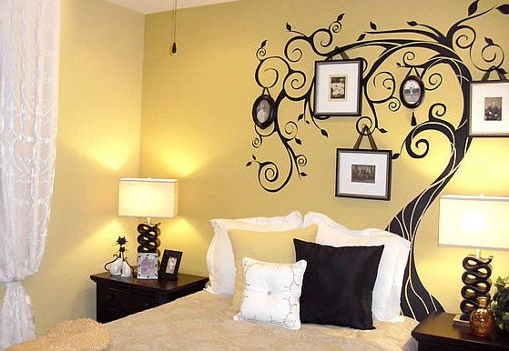 "tree wall decal with a twist!  Hang picture frames on the ""branches"""