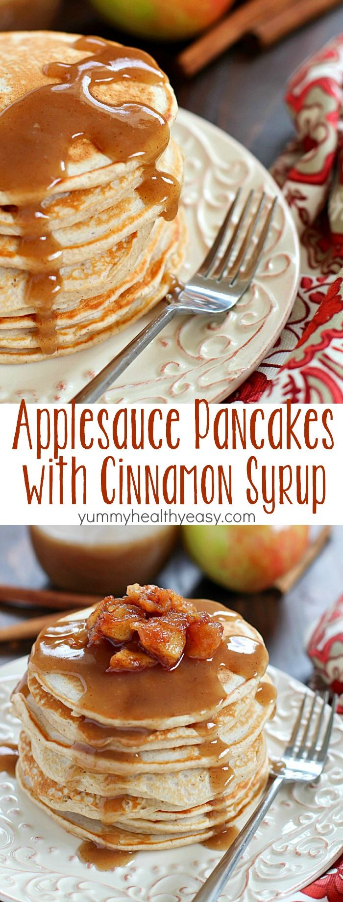 Start your morning with some Applesauce Pancakes with Cinnamon Syrup! These pancakes are healthy, light, fluffy and full of fall flavors. The cinnamon syrup is to-die-for! You won't regret making up a batch of these for breakfast - or lunch or dinner! ;)