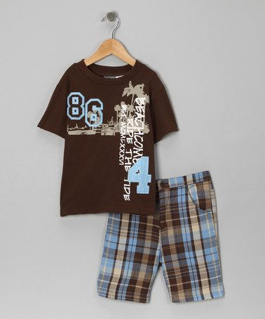 Take a look at this Brown 'Beach' Tee & Shorts - Boys by Little Rebels on #zulily today!