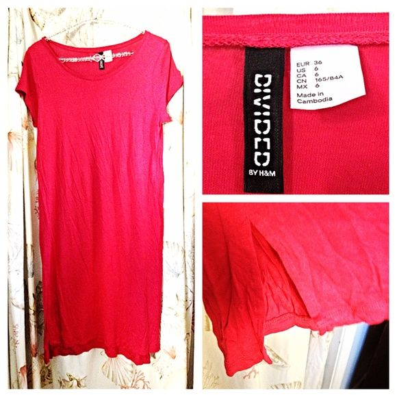 Hot Pink Cotton T-Shirt Dress A super cute, effortless, and comfy hot pink t-shirt dress from H&M. Size 6. Awesome loose or with a belt. There's a small high-low side slit. Sorry it's wrinkly in the photos! It would look even better after a good ironing! Also, there is a tiny, tiny pinprick in the back of the fabric. It isn't at all noticeable. It's most likely from when they removed the mechanical security sensor. H&M Dresses