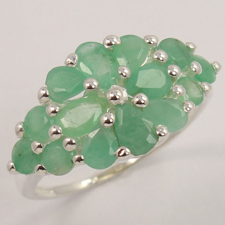 Extra Ordinary Ring Size US 5.5 Natural EMERALD Gemstone 925 Sterling Silver #Unbranded
