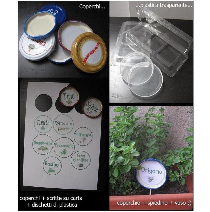 Il segnapiantine. Un lavoretto per i vasi sul balcone, da fare anche con i bambini, per insegnare a riconoscere le piante e un'occasione per riciclare diversi materiali... :)