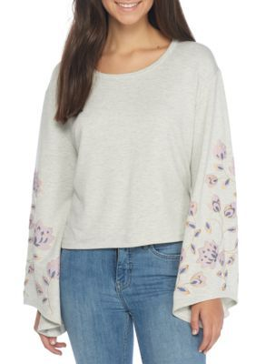 Living Doll Girls' Long Sleeve Embroidered Top - Oatmeal - Xs