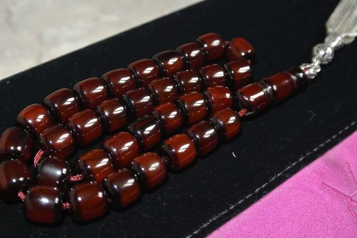 Cherry amber faturan prayer necklace islam arab 33 beads  imam. % 100 bakelite. its prayer werry good conditions. total weigrh 45.5 gr. sterling silver tassel 13 gr. dimension beads 10 x 10,5 mm. Excellent Condition! | eBay!