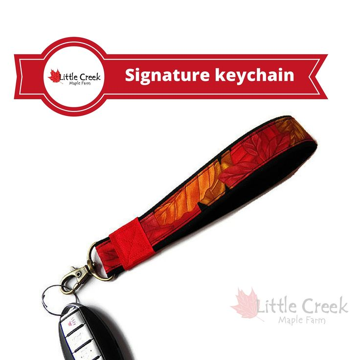 Now selling: Signature Little Creek Maple Farm wristlet keychain, loop key fob, handmade gift, boutique style fall leaves on black with red trim https://www.etsy.com/listing/260540373/signature-little-creek-maple-farm?utm_campaign=crowdfire&utm_content=crowdfire&utm_medium=social&utm_source=pinterest