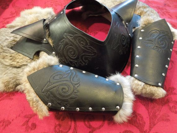Celtic Wolf Gorget/Pauldron Leather Armor by ChaosCostumes on Etsy (Bracers sold separately. Also comes in brown.)
