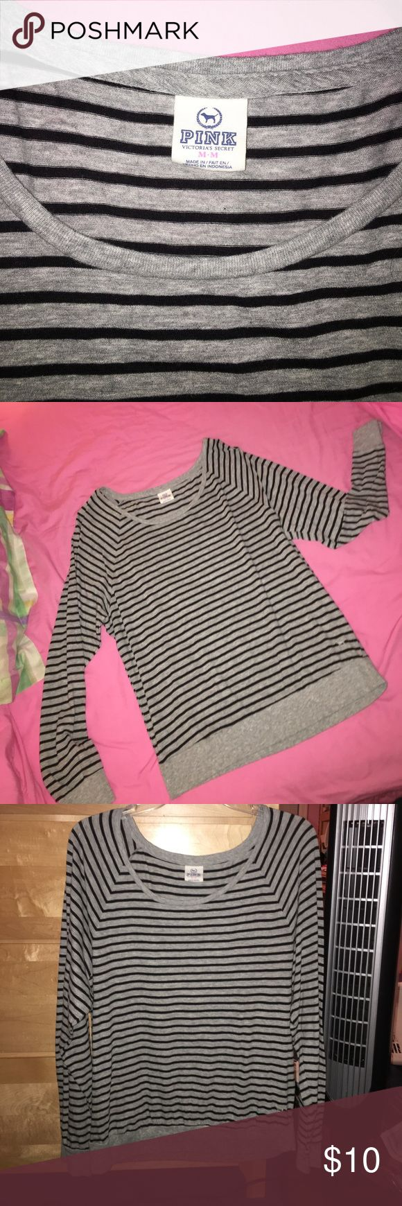 Victoria Secret PINK Striped Long Sleeve shirt Victoria Secret PINK medium gray and black long sleeved shirt. It's loosely fitting with a wider neck and an elastic band at the bottom! Worn less than 5 times. Very good condition - like new! PINK Victoria's Secret Tops Tees - Long Sleeve