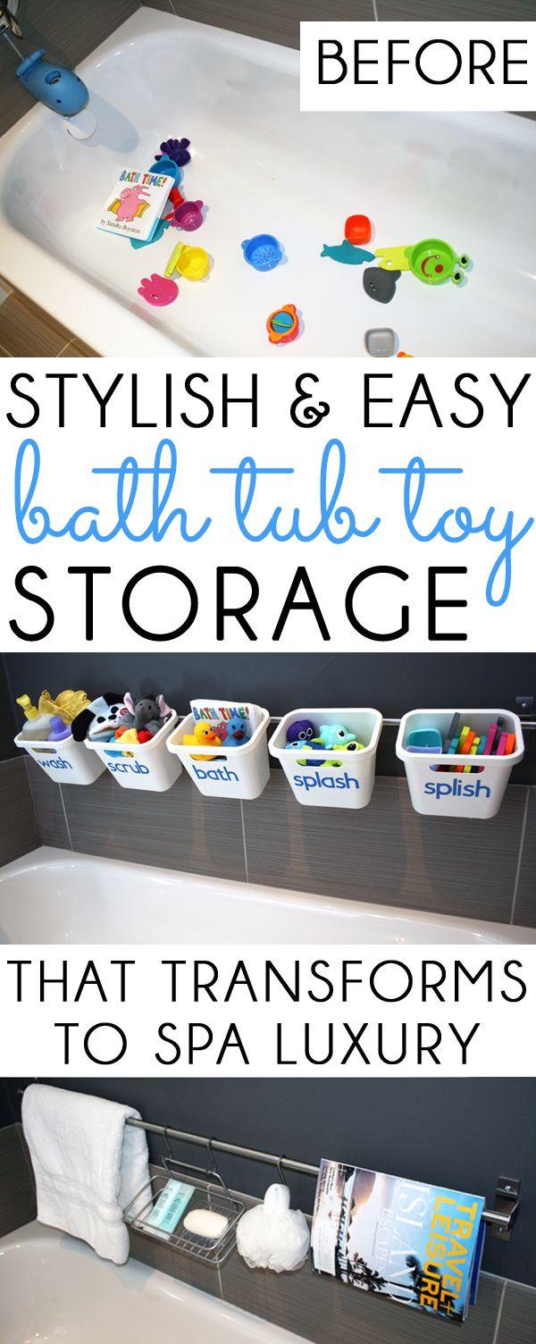 Bath toy storage that transforms to guest luxury bathroom on -  Organizing With Style Bath Toy Storage That Transforms For Guests