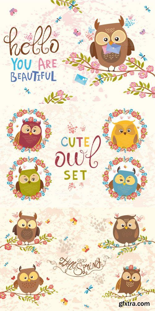 CM - Charming Owls (vector, png, jpg) 635167