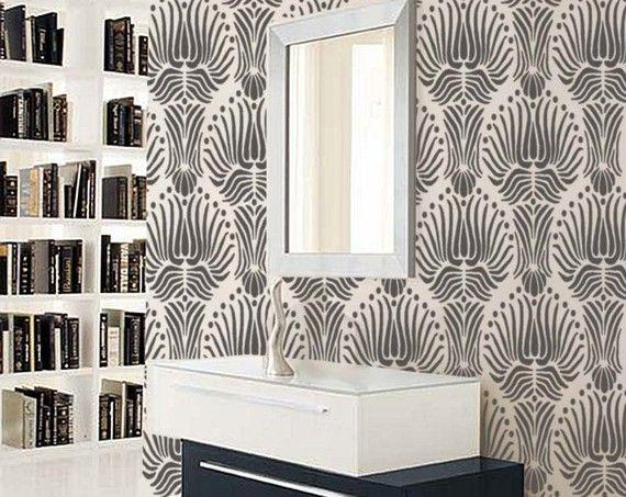 Living Room STENCIL For Walls Art DECO Flower Pattern By OliveLeafStencils 3995