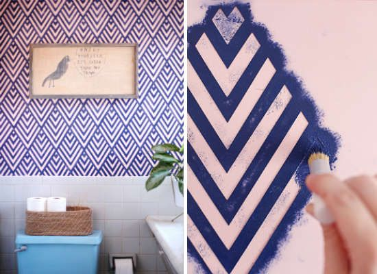 Geometric stenciling is a sure way to add interest to a small space that you can completely DIY, right down to the stencil. Simply print your pattern of choice, then trace onto a blank plastic stencil sheet and cut, just as the ladies of A Beautiful Mess did for the bathroom. Pro tip: Make a few half- or quarter-sized versions of your stencil to help you navigate tight corners.