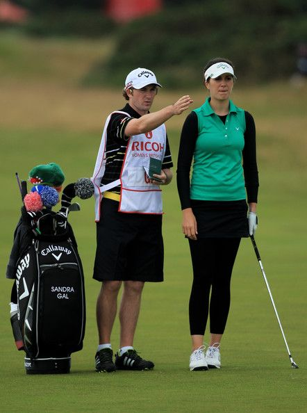 Sandra Gal Photos Photos - Sandra Gal of Germany lines up a shot with caddie Roy Clarke during the second round of the 2011 Ricoh Women's British Open at Carnoustie on July 29, 2011 in Carnoustie, Scotland. - Ricoh Women's British Open - Day Two