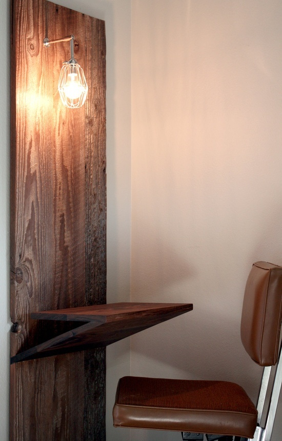 Barn Wood Laptop Desk w/ Industrial Built-in Lamp - reclaimed, weathered, chrome, cage, light, sconce, handmade, woodworking. $930.00, by weareMFEO