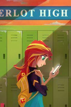 #982484 - artist:ajvl, backpack, cellphone, equestria girls, human coloration, lockers, phone, safe, solo, sunset shimmer - Derpibooru - My Little Pony: Friendship is Magic Imageboard