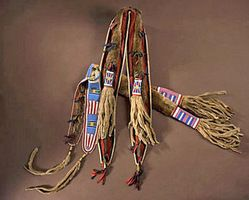 Bow Case & Quiver; Crow, Otter Skin, Beaded, 55 inch.