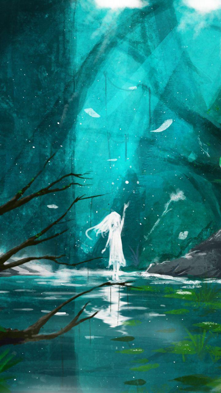 Lake, spirit, anime girl, original, fantasy, 720x1280 wallpaper ...