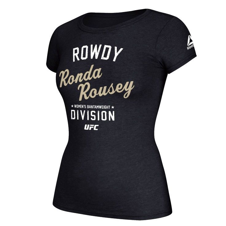 Ronda Rousey Reebok Women's 2016 UFC International Fight Week Stacked Retro T-Shirt - Black - $23.99