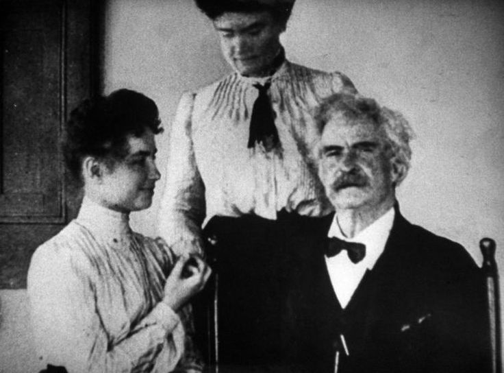 <b>Caption from LIFE.</b> With Mark Twain, Helen and her companion, Annie (center) talked in 1907. He classed her with Napoleon as two…